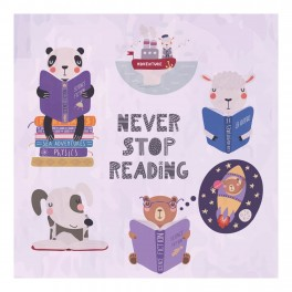 Animals - Never Stop Reading Wall Graphic Sticker
