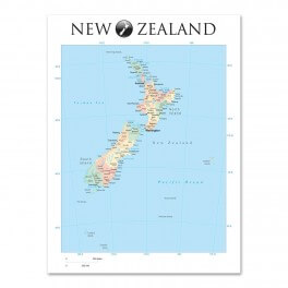 New Zealand Map Small Wall Graphic Mural (Removable)